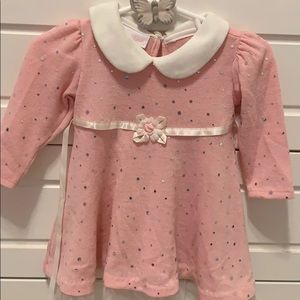 6-9 mo pink/white matching dress and leggings set